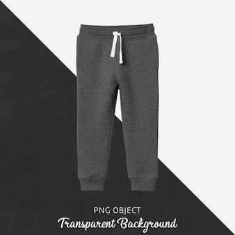 Vue de face de la maquette de pantalons de survêtement pour enfants gris foncé
