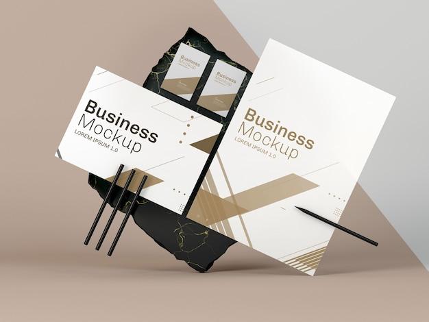 Vue de face de maquette de papeterie d'affaires