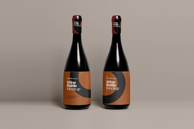 Vue de face de la maquette de plusieurs bouteilles de vin