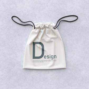 Vue de face de la maquette de sac textile