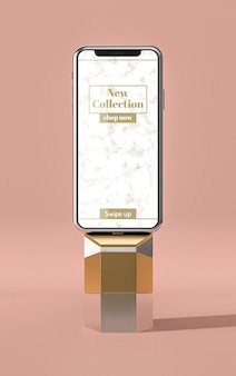 Vue de face de maquette de téléphone portable 3d