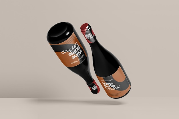 Vue de face de la perspective de plusieurs maquettes de bouteilles de vin