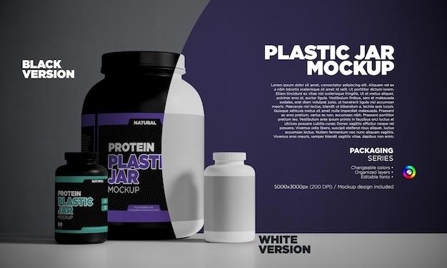 Vue de face des pots de protéines ou de médicaments en plastique en rendu 3d