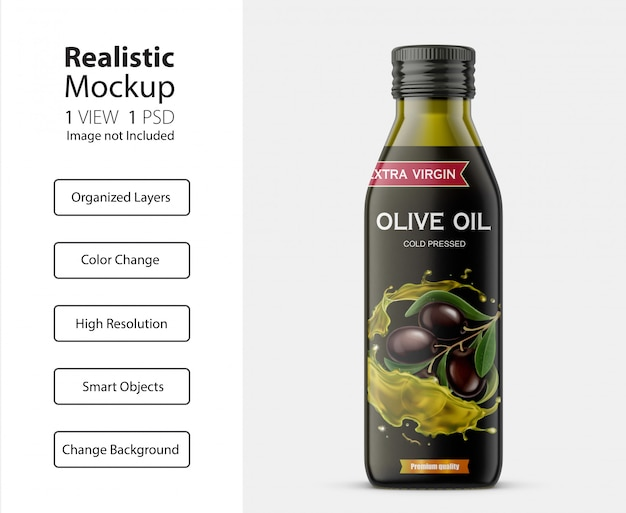 Vue de face réaliste de la maquette de bouteille d'huile d'olive