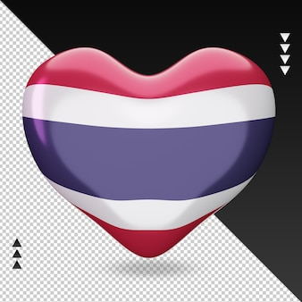 Vue de face de rendu 3d de foyer de drapeau de la thaïlande d'amour