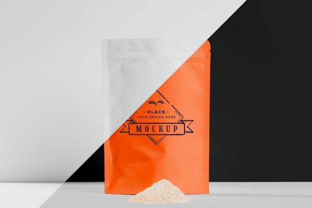 Vue de face sac de poudre orange