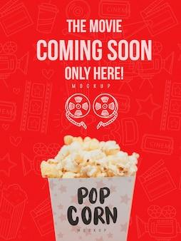 Vue de face de la tasse de pop-corn pour le cinéma