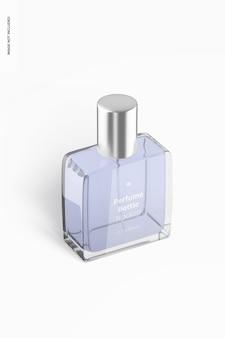 Vue de gauche isométrique de maquette de bouteille de parfum