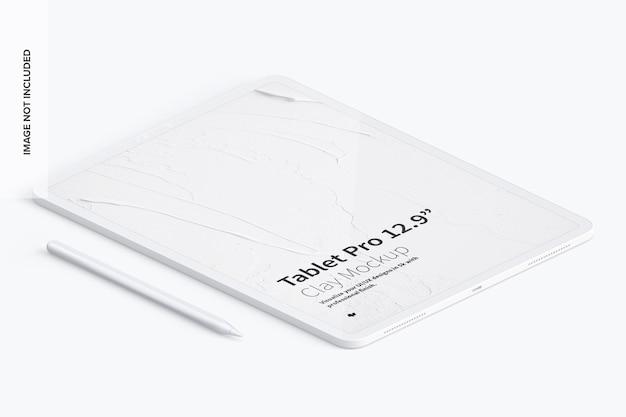 Vue de gauche isométrique de la maquette clay tablet pro 12,9 pouces
