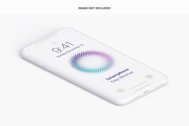 Vue de gauche de maquette de smartphone en argile isométrique