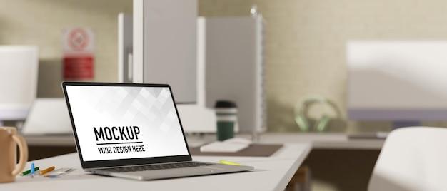 Vue latérale du rendu 3d, espace de travail portable dans la salle de bureau avec ordinateur portable et fournitures de bureau