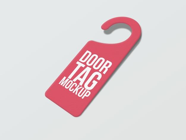 Vue latérale de l'étiquette de porte avec maquette de crochet