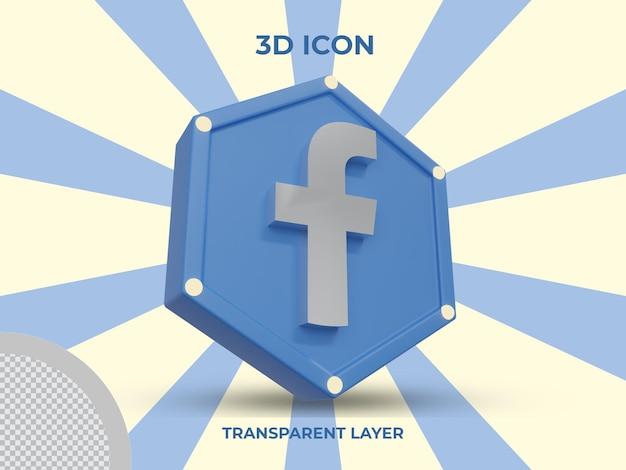 Vue latérale de l'icône facebook isolé en rendu 3d
