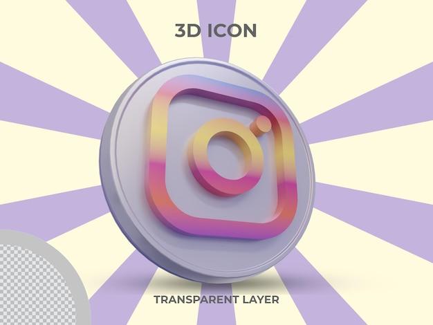 Vue latérale de l'icône instagram isolée en rendu 3d