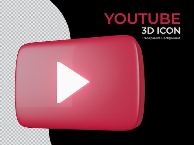 Vue latérale de l'icône png de fond transparent youtube rendu 3d