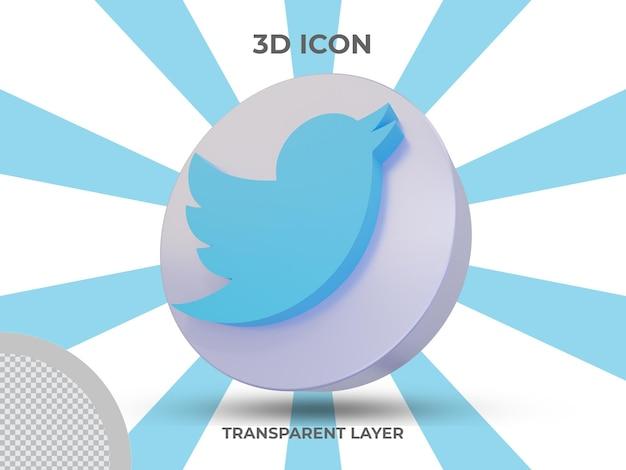 Vue latérale de l'icône twitter isolé en rendu 3d de haute qualité