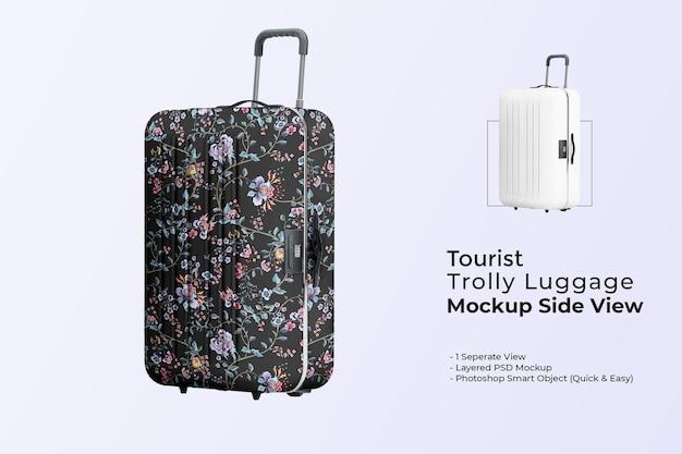 Vue latérale de la maquette de bagage de chariot touristique