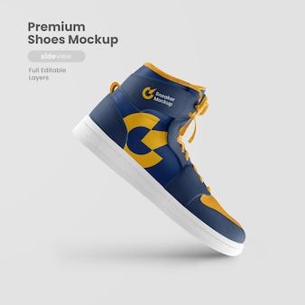 Vue latérale de la maquette de chaussures premium