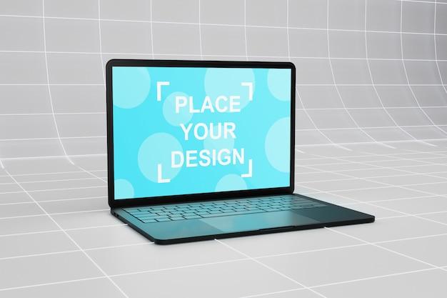 Vue latérale d'une maquette d'ordinateur portable sur une surface filaire