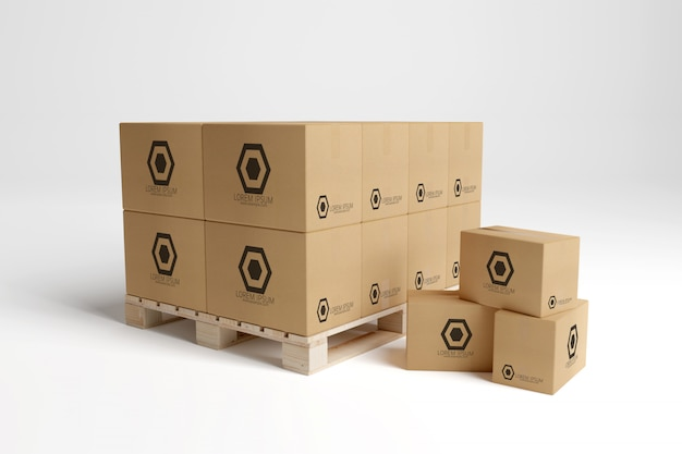 Vue d'une maquette de boîte en carton d'entrepôt