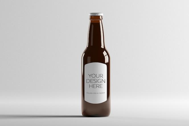 Vue de la maquette d'une bouteille de bière en verre