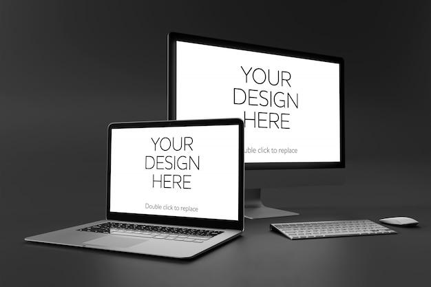 Vue d'une maquette de bureau, ordinateur portable, smartphone et tablette
