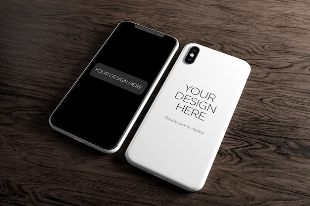 Vue d'une maquette d'étui pour smartphone