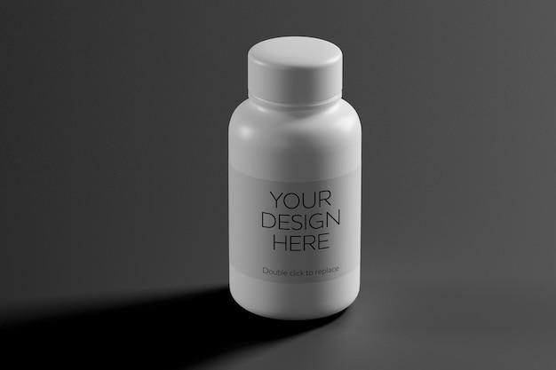 Vue de maquette d'un rendu 3d de récipient de vitamine