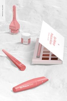 Vue de maquette de scène de produits de maquillage pour les yeux