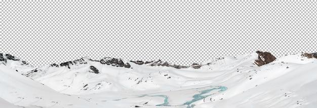 Vue panoramique sur les montagnes enneigées avec isolé