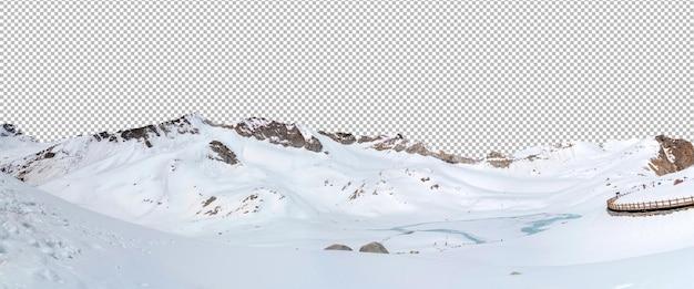 Vue panoramique sur les montagnes enneigées isolées