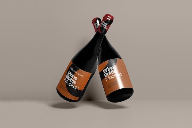 Vue en perspective de la maquette de plusieurs bouteilles de vin
