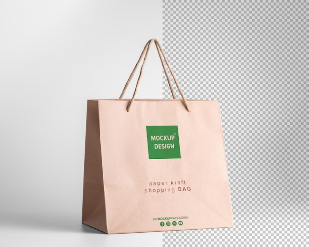Vue en perspective de maquette de sacs à provisions en papier