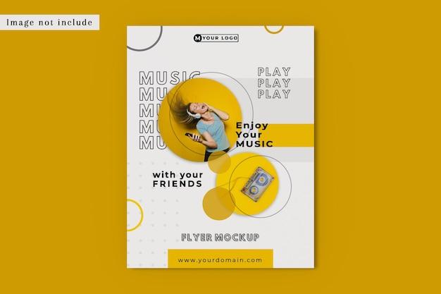 Vue plate de maquette de flyer de musique