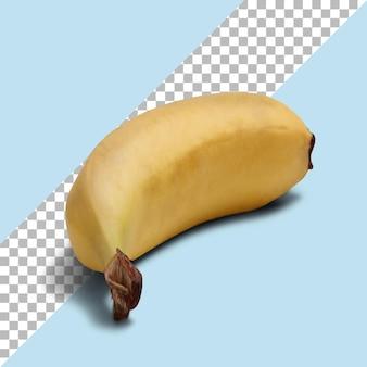 Vue rapprochée banane jaune mûre isolée