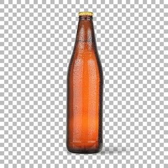 Vue rapprochée de la bière froide isolée avec une bouteille brune.