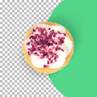 Vue rapprochée des cup cakes aux fraises isolés