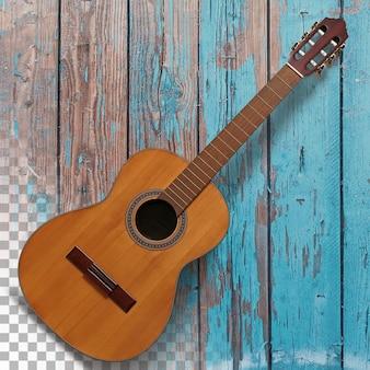 Vue rapprochée de la guitare acoustique isolée