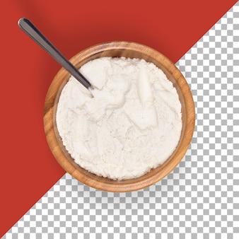 Vue rapprochée des moulins à farine blancs à haute teneur en protéines sur un bol en bois.
