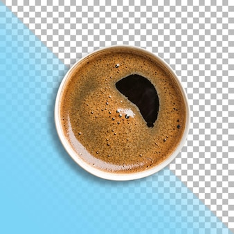 Vue rapprochée mousse abstrak sur café noir isolé sur fond transparent.