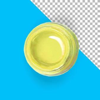 Vue rapprochée de la peinture jaune isolée