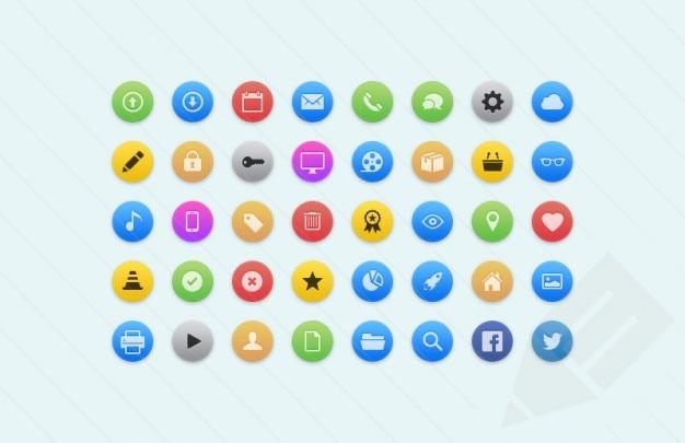Web icônes colorées matériau psd