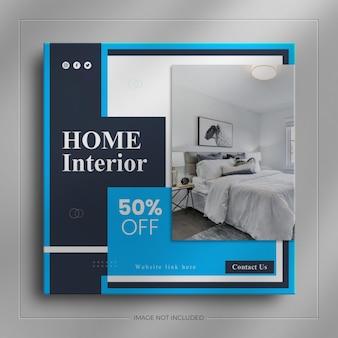 Web de médias sociaux de meubles d'intérieur bannière et article d'histoire instagram carré de l'immobilier
