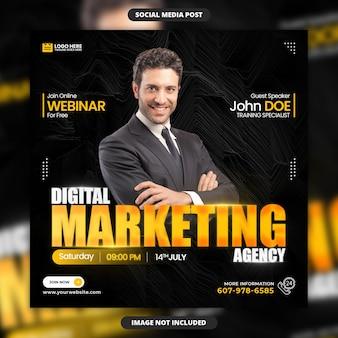 Webinaire de cours en ligne d'agence de marketing numérique bannière de médias sociaux et conception d'instagram