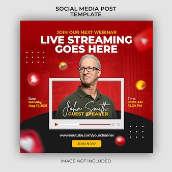 Webinaire en direct sur le marketing numérique et modèle de bannière de publication sur les médias sociaux d'entreprise