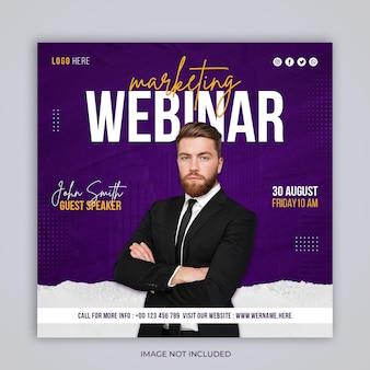 Webinaire en direct sur le marketing numérique, publication sociale et modèle de bannière carrée