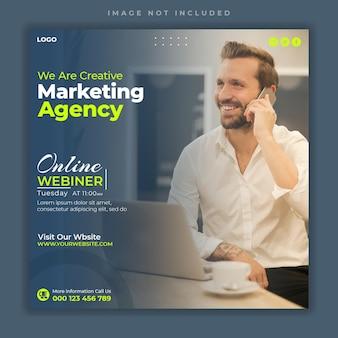 Webinaire en direct sur les médias sociaux d'entreprise de marketing numérique et modèle de bannière de publication instagram