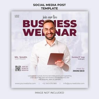 Webinaire en direct et modèle de bannière de publication sur les réseaux sociaux d'entreprise
