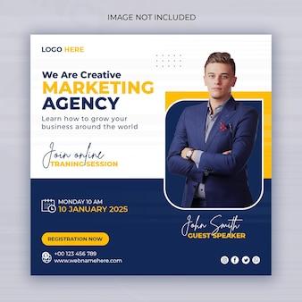 Webinaire en ligne d'une agence de marketing numérique ou publication sur les réseaux sociaux d'entreprise