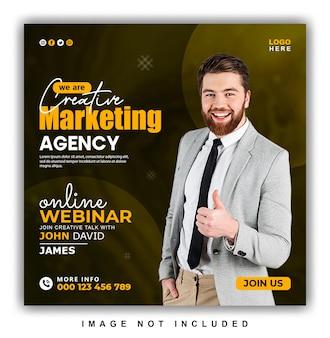 Webinaire en ligne sur le marketing numérique et conception de publications sur les réseaux sociaux d'entreprise